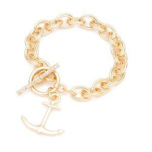 Crown & Ivy Anchor Charm Link Bracelet NWT
